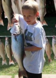 Kids enjoying time with their parents striper fishing on Lake Texoma
